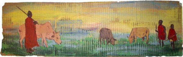 """Cattle Tending - Sante Bentivoglio - 8.5"""" x 29"""""""
