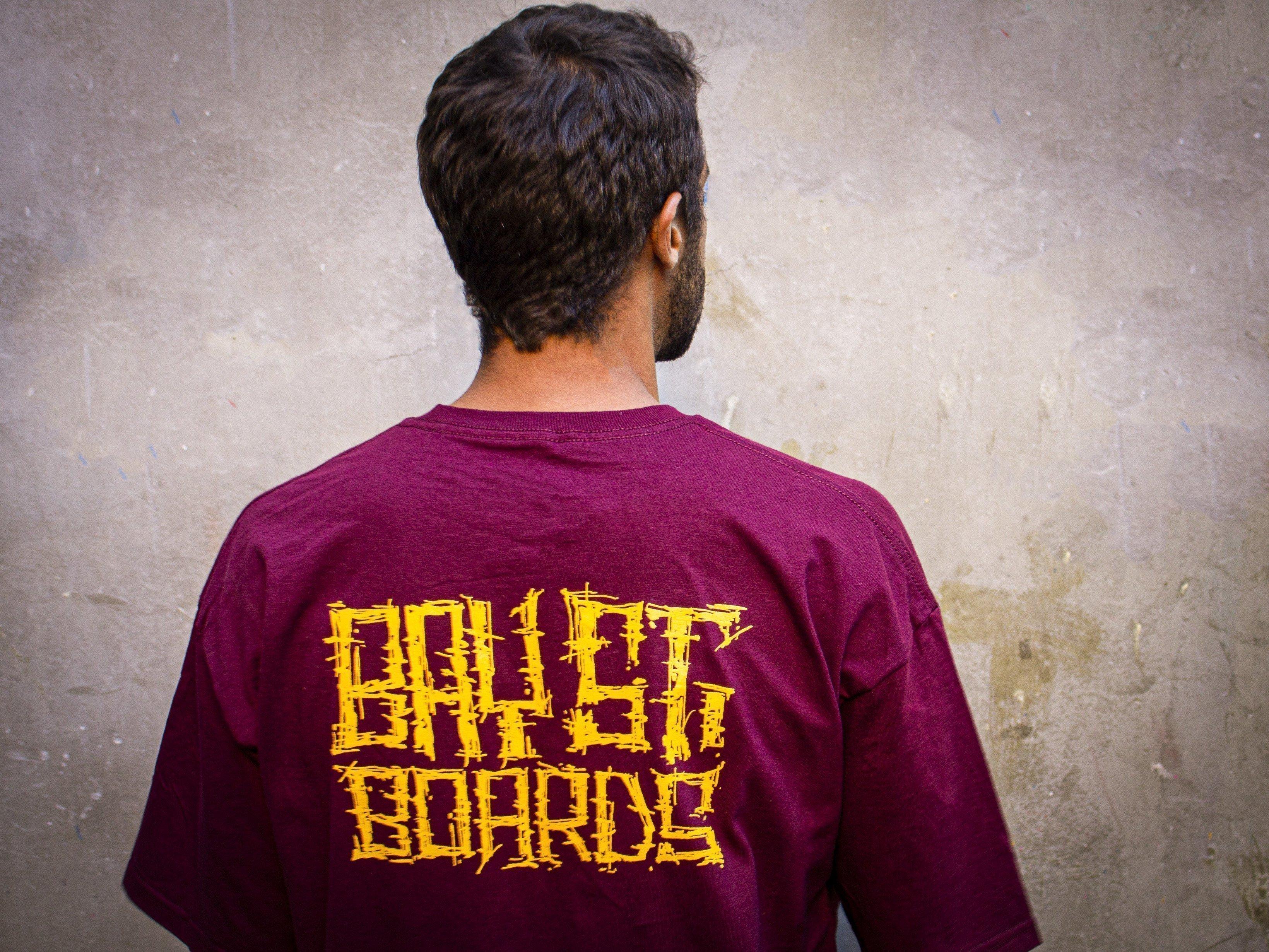 "Bay Street ""Grunge Script"" T-Shirt -- Maroon"