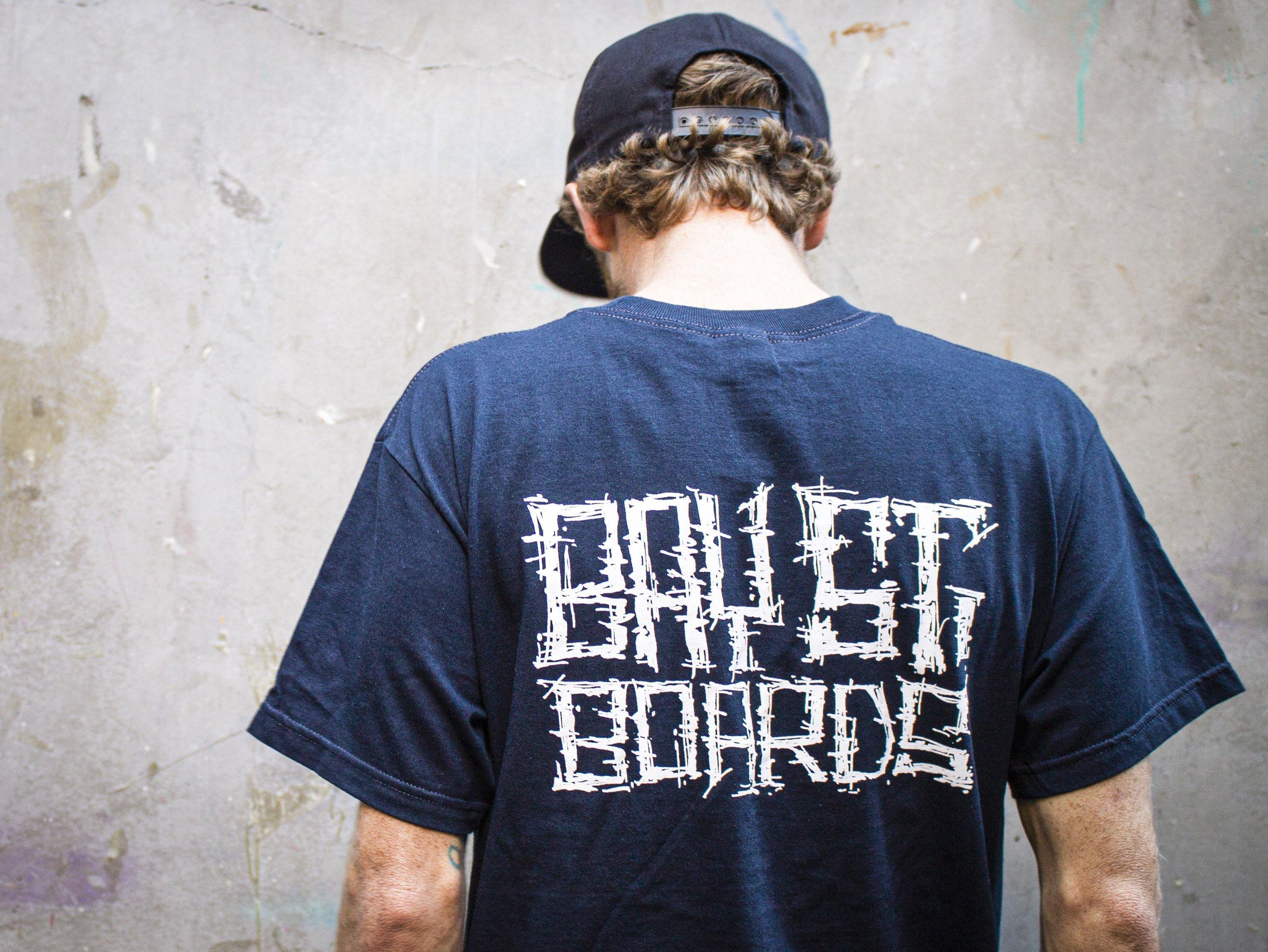 "Bay Street ""Grunge Script"" T-Shirt -- Navy"