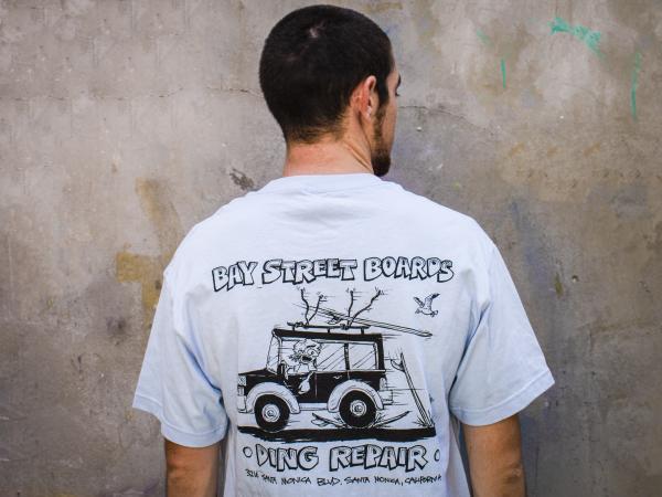 """Bay Street """"Ding Repair"""" T-Shirt -- Light Blue"""